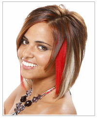 Party hair with clip in color extensions